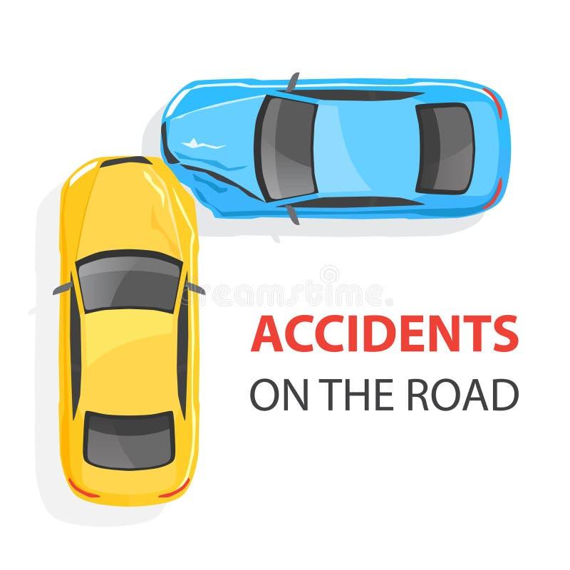 3d事故查出的汽车例证回报了白色 顶视图 向量例证