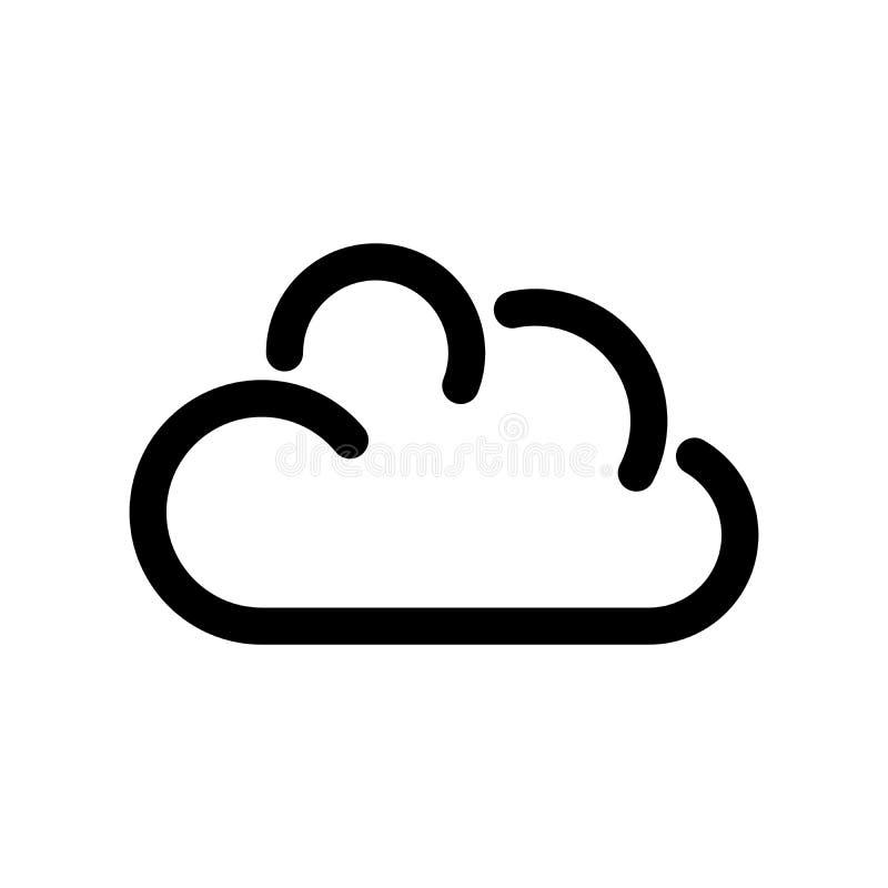 3d云彩图标设计白色 在线式存储的标志 概述现代设计元素 与圆角落的简单的黑平的传染媒介标志 库存例证