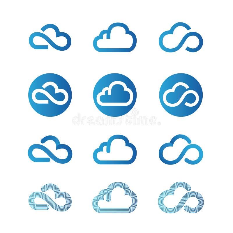 3d云彩图标设计白色 库存例证