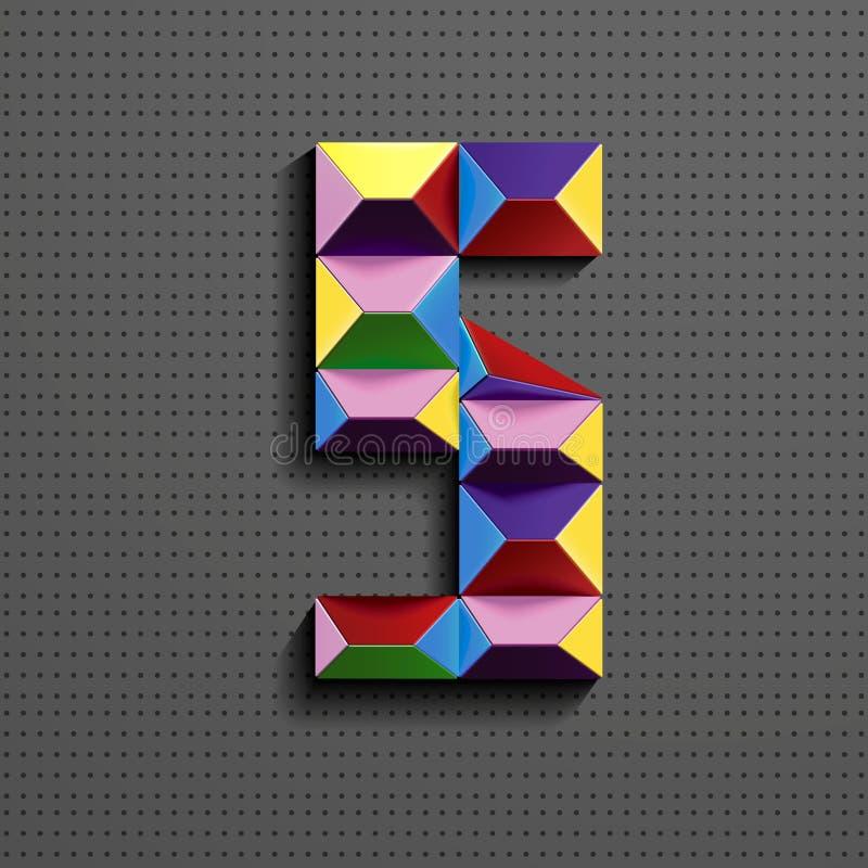 3d五颜六色的几何第五从大厦砖 现实3d第五 puzze数字 等量数字3d 库存例证