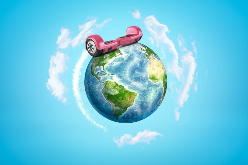 3d五颜六色的地球地球翻译与桃红色gyroscooter的在蓝色背景 库存例证