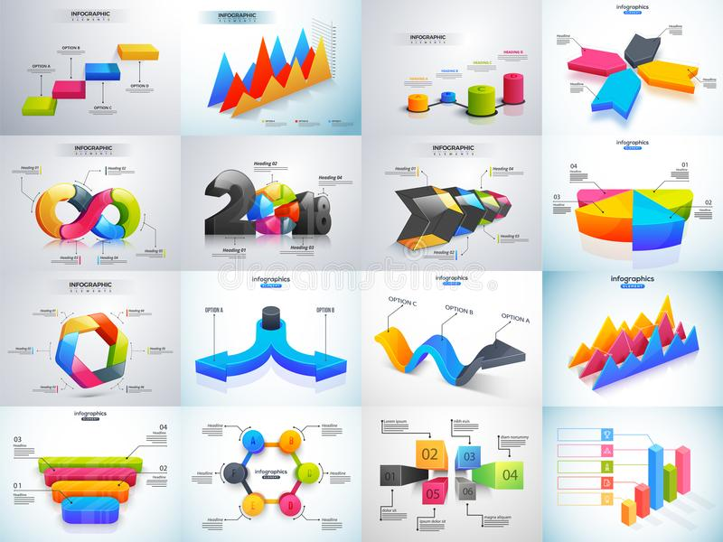 3D五颜六色的套与统计或workf的Infographic元素 皇族释放例证