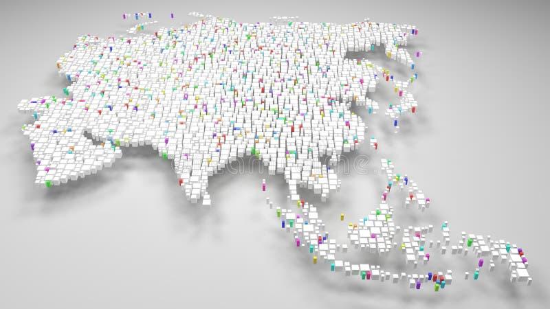 3D亚洲-白色砖马赛克的地图  库存例证