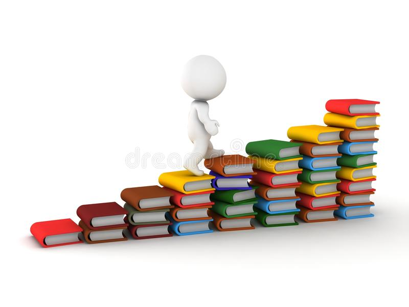 3D人上升的台阶由书制成 免版税库存照片
