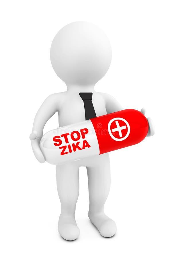 3d人与中止Zyka标志的举行药片 3d翻译 向量例证