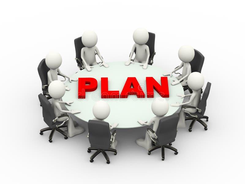 3d人业务会议会议计划桌 向量例证