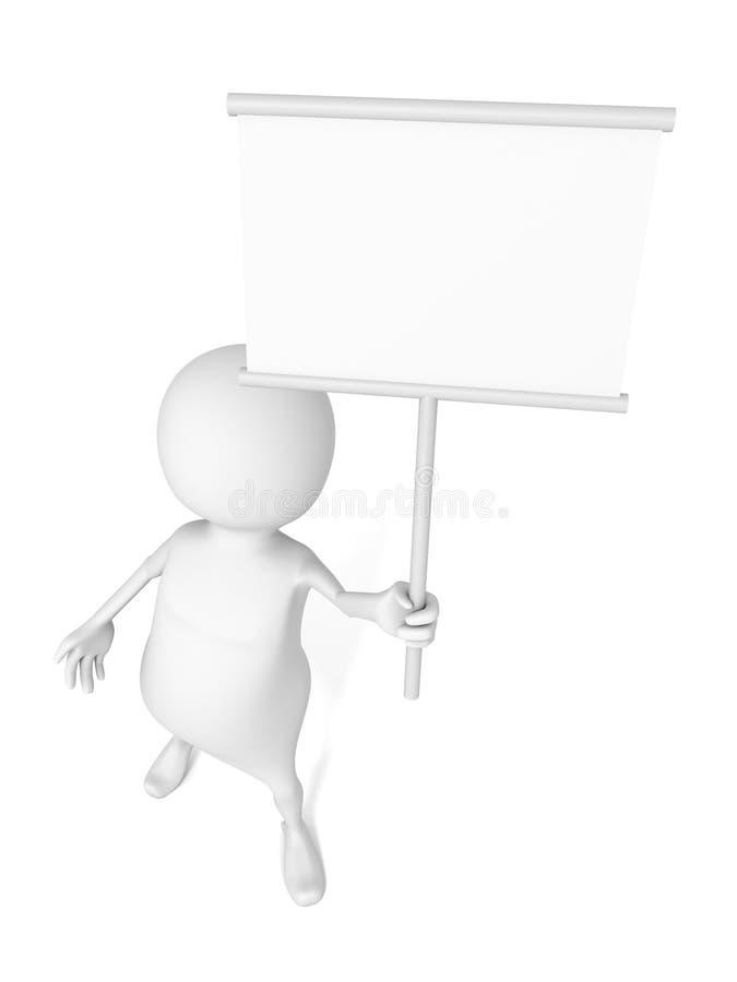3d人举行白色空白的信息标志板 库存例证