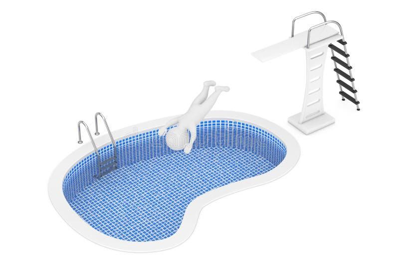 3d人从跃迁委员会跳到游泳池 3d翻译 库存例证