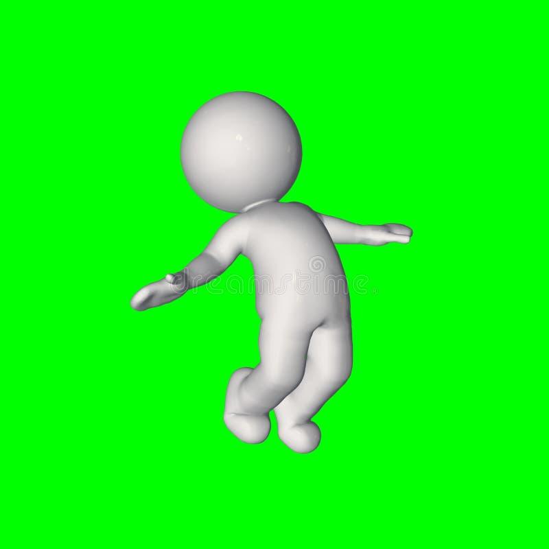 3D人们-失去平衡8 -绿色屏幕 向量例证