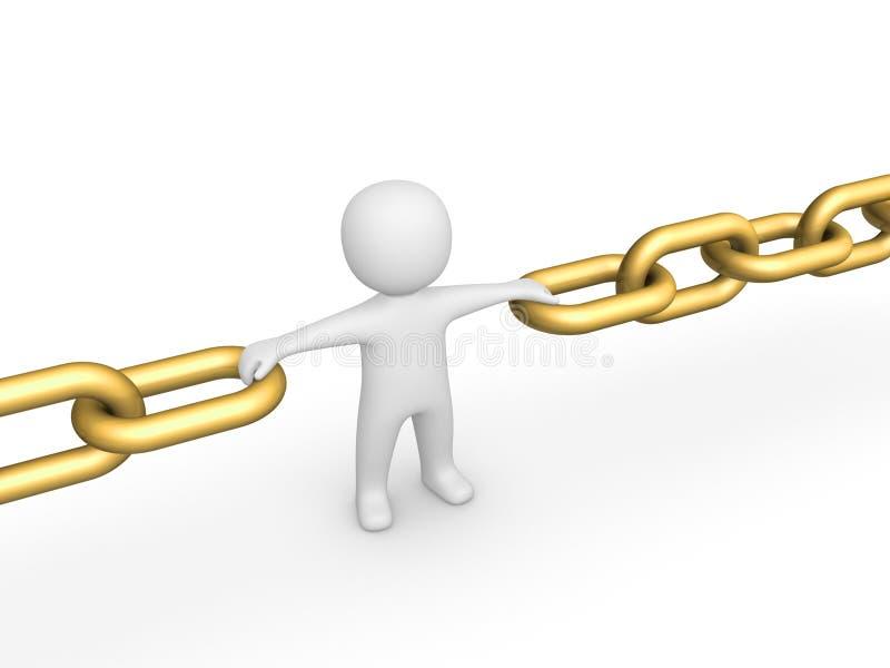 3d人作为链子的链接 皇族释放例证