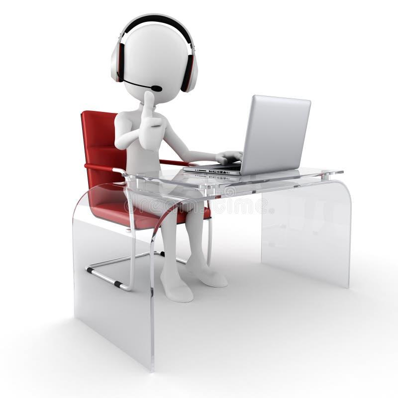 3d人准备好的电话中心帮助 向量例证