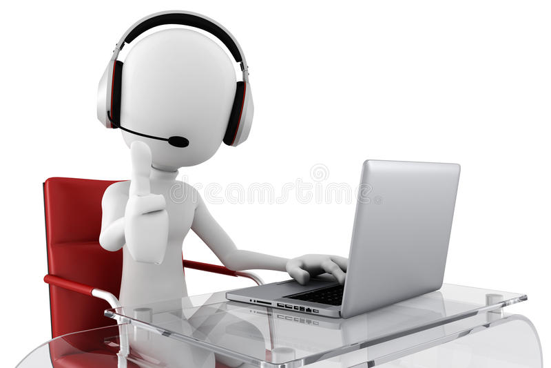 3d人准备好的电话中心帮助 库存例证