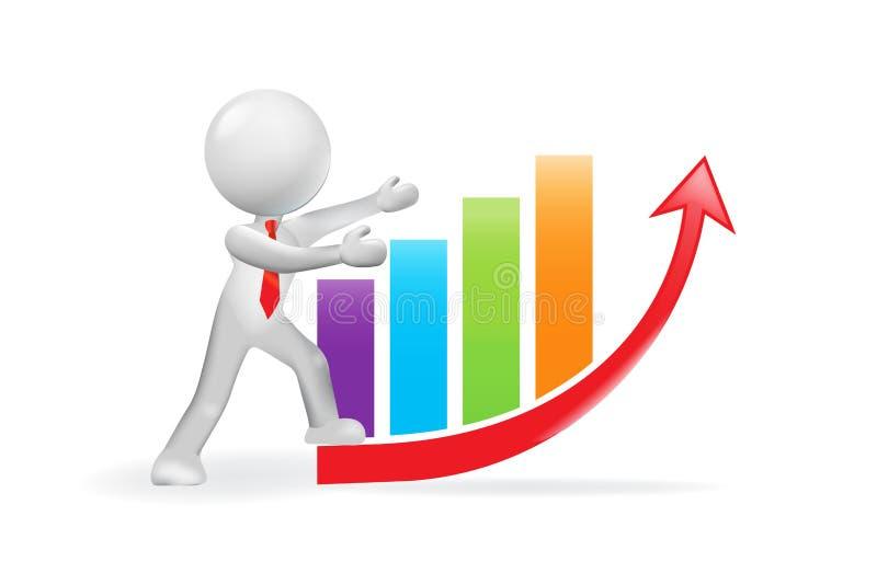 3D人和增长的企业长条图图 向量例证