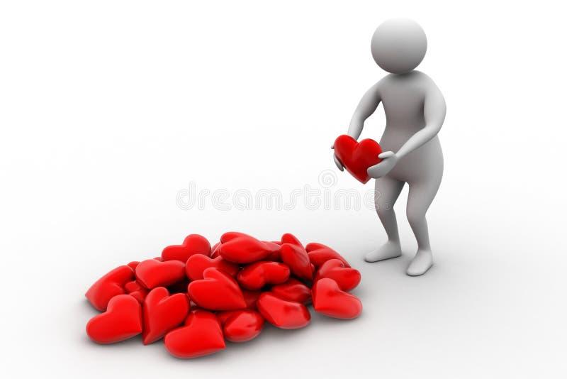 3d人在他的手上的拿着心脏 库存例证
