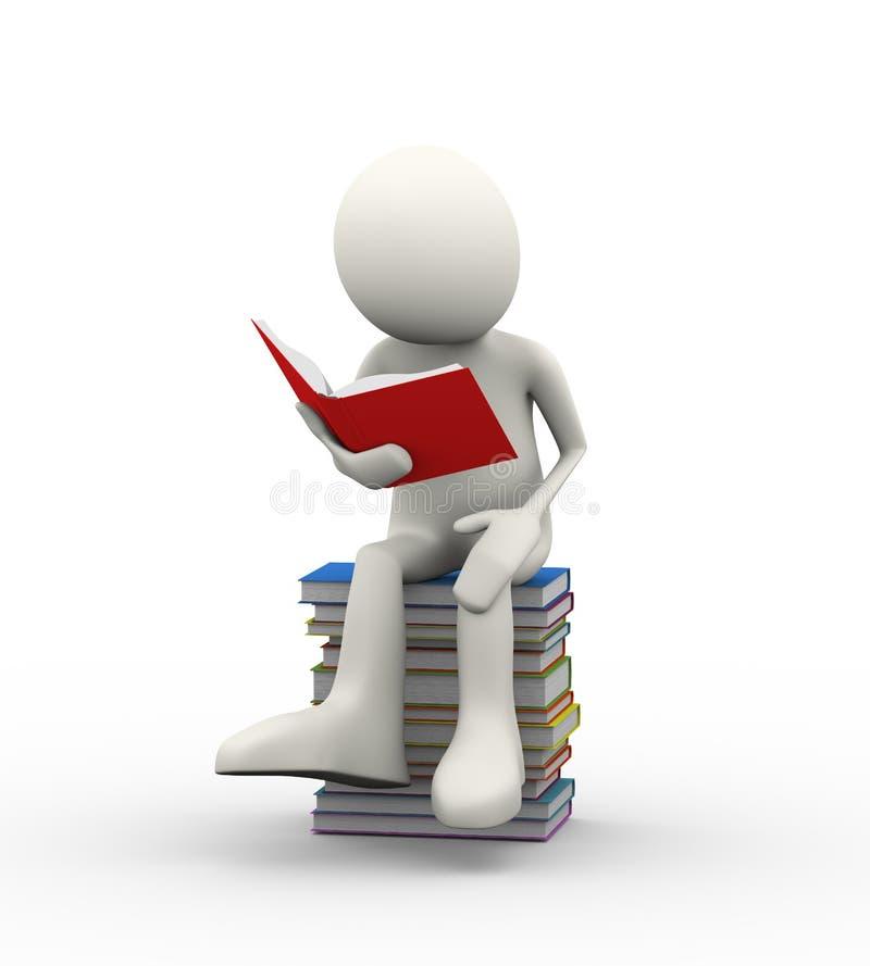 3d人坐堆书阅读书 库存例证