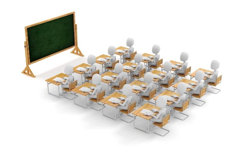 3d人学员在教室 库存例证
