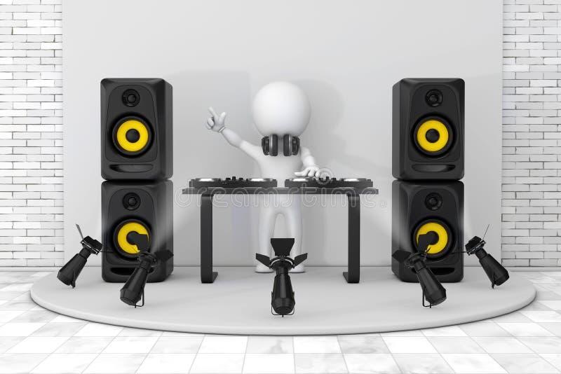 3d人有转盘的音乐节目主持人,报告人和耳机 皇族释放例证