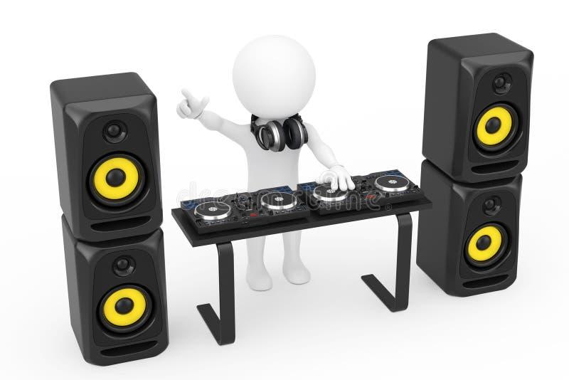 3d人有转盘的音乐节目主持人,报告人和耳机 库存例证
