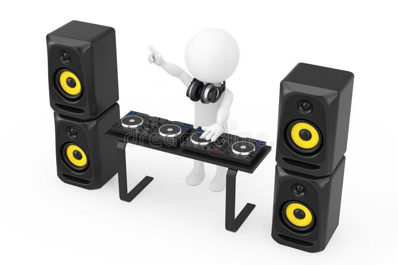 3d人有转盘的音乐节目主持人,报告人和耳机 向量例证
