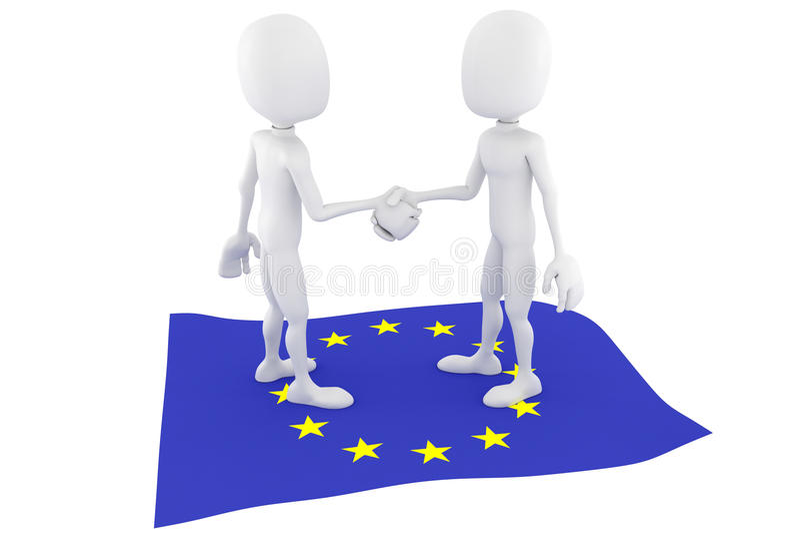 3d人欧盟下垂企业概念 向量例证