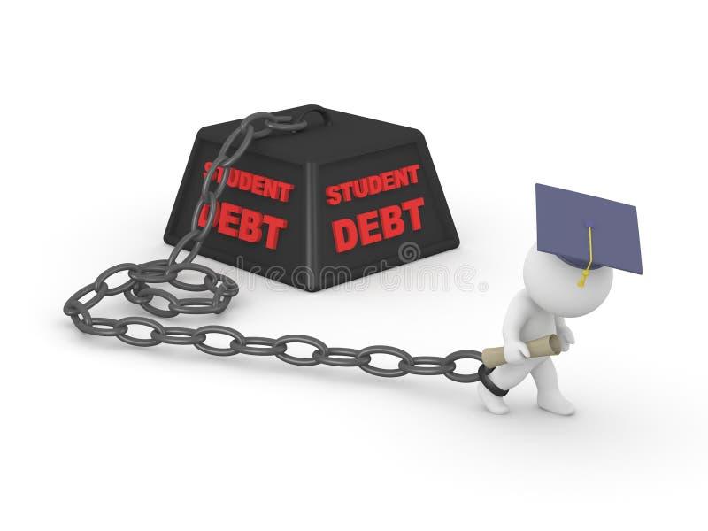 3D人毕业了踌躇由学生债务贷款 免版税库存照片