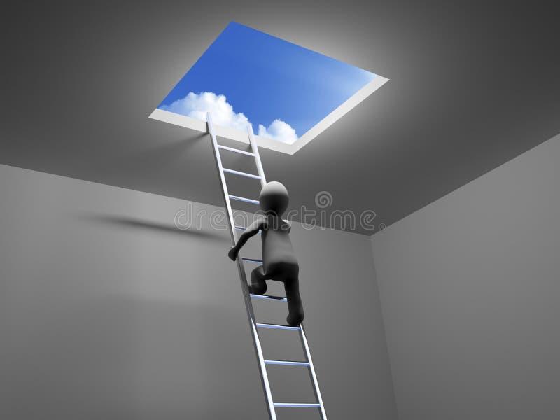 3D人爬梯子对天空 库存例证