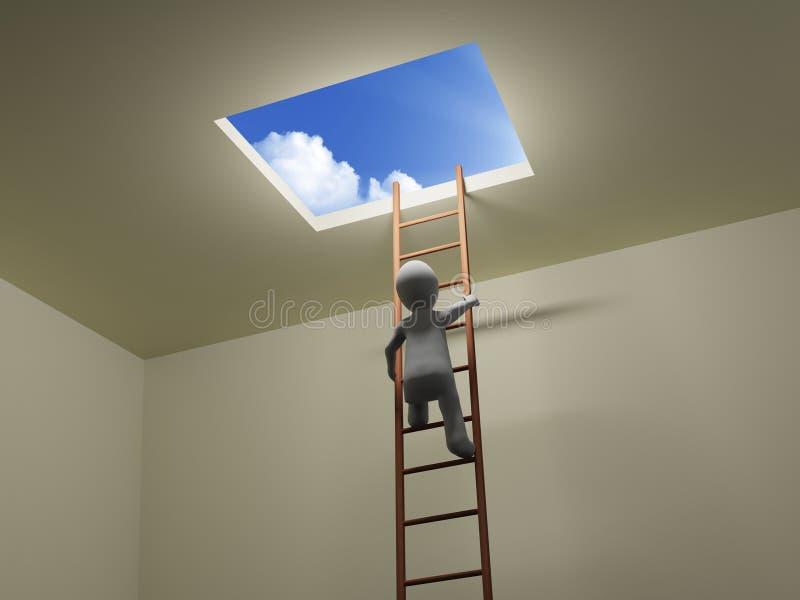 3D人爬梯子对天空 向量例证