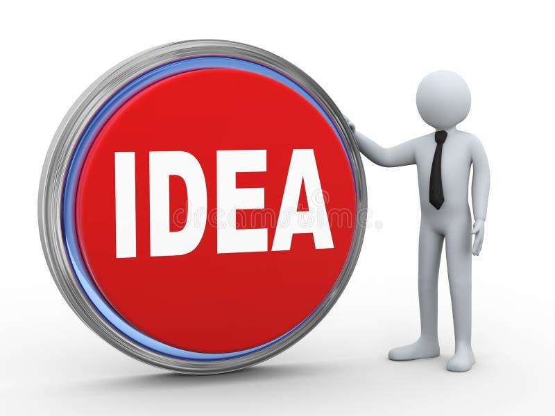 3d与想法按钮的商人 向量例证