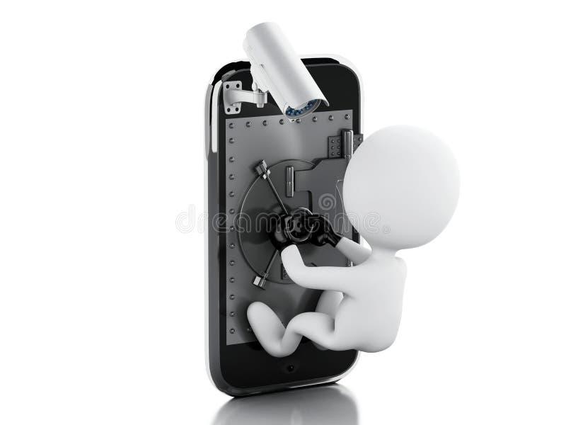 3d人窃贼白色 有安全CCTV照相机的智能手机 皇族释放例证