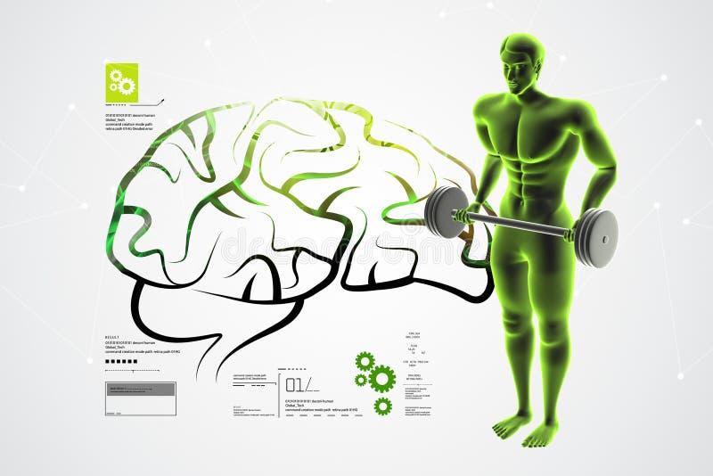 3d人脑的例证与男性身体的 皇族释放例证