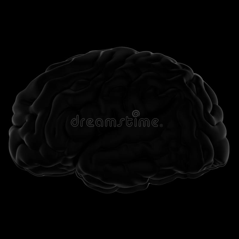3D人脑的例证 黑色背景 皇族释放例证