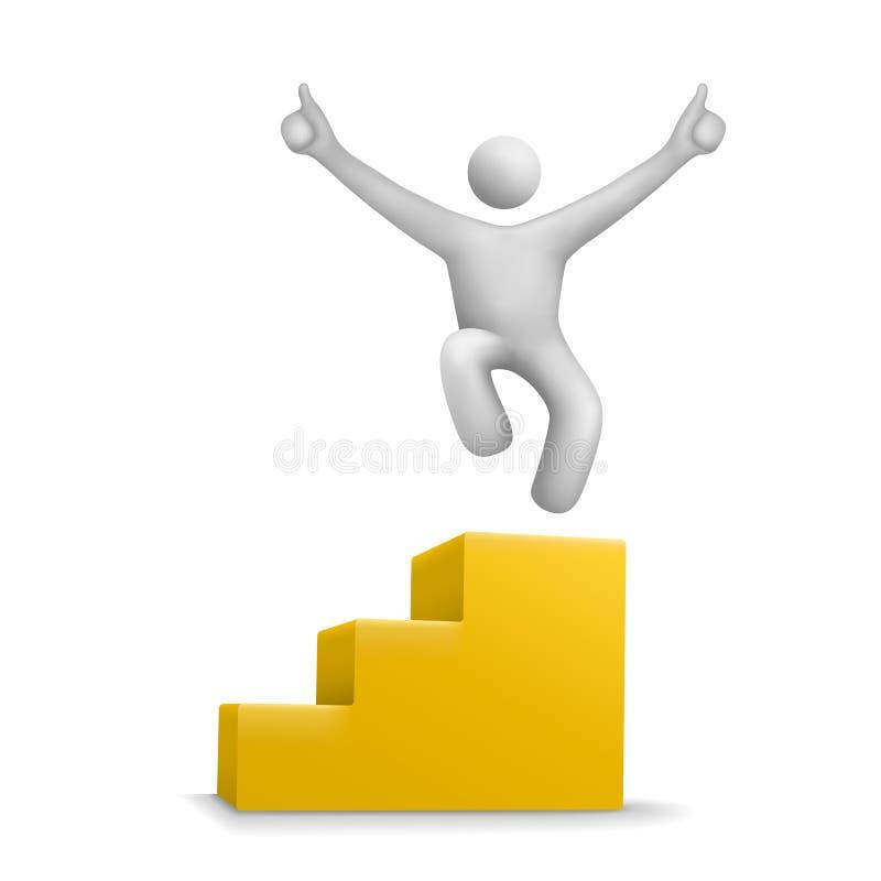 3d人跳跃在黄色台阶 库存例证
