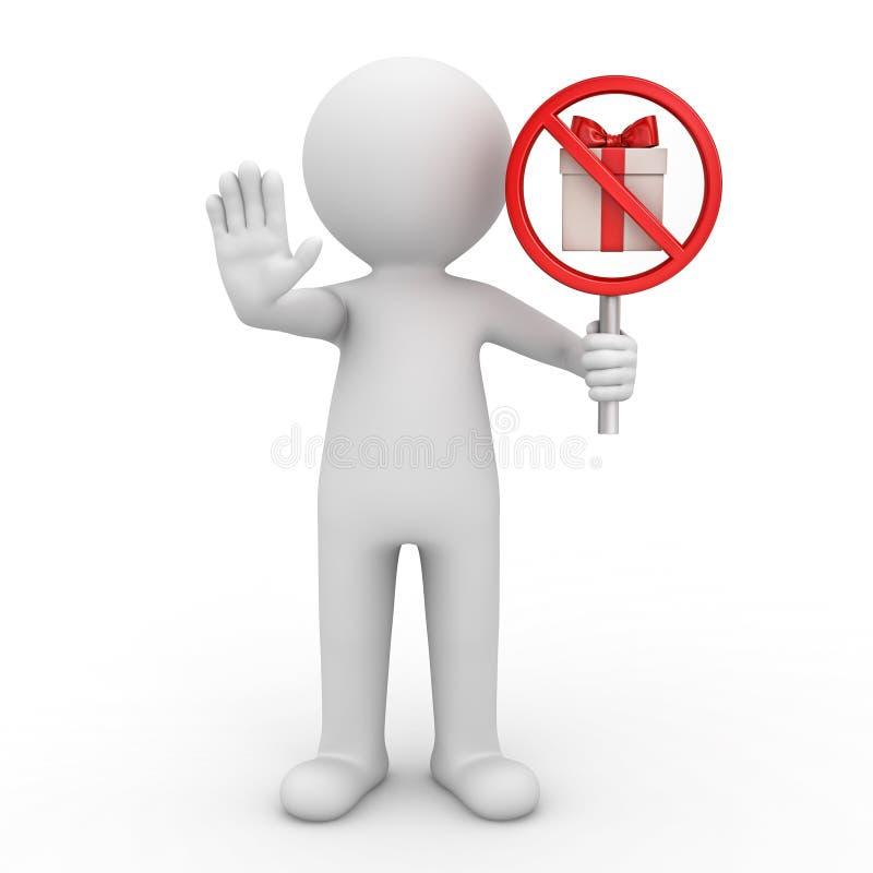 3d人身分和显示中止姿态和举行礼物标志象禁令当前箱子标志红色禁止标志 皇族释放例证