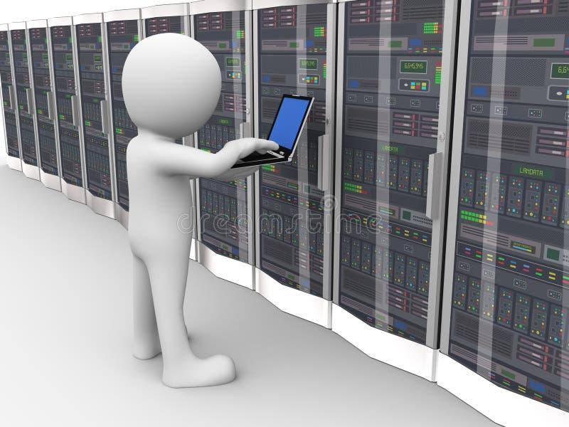3d人运作的数据服务器室 库存例证