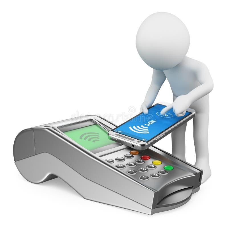 3d人问题白色 供以人员支付与有NFC的一个手机 向量例证