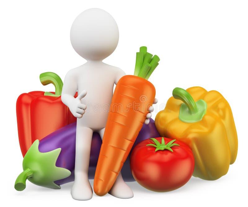 3d人问题白色 健康的食物 菜 向量例证