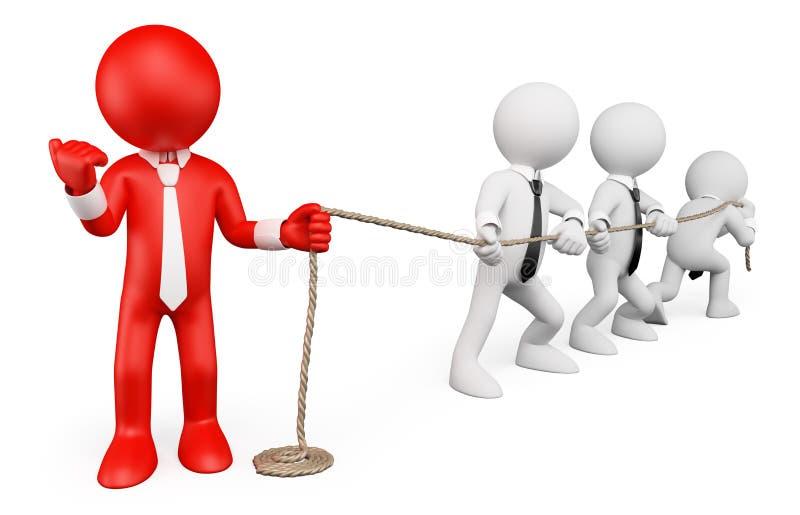 3d人问题白色 商业查出的隐喻白色 坚强的领导 向量例证