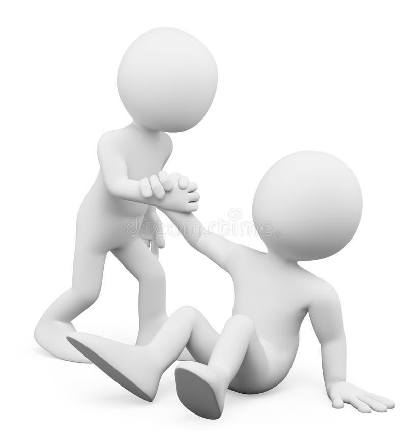 3d人问题白色 帮助家伙的人  同伴关系的概念 库存例证