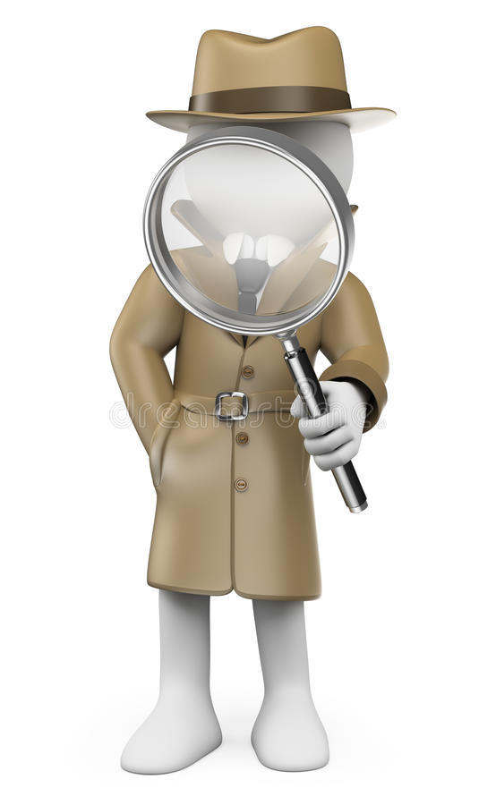 3d人问题白色 探员 私家侦探 库存例证