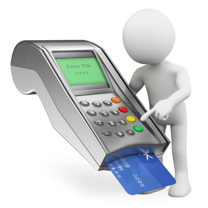 3d人问题白色 支付与一张信用卡在银行终端 向量例证