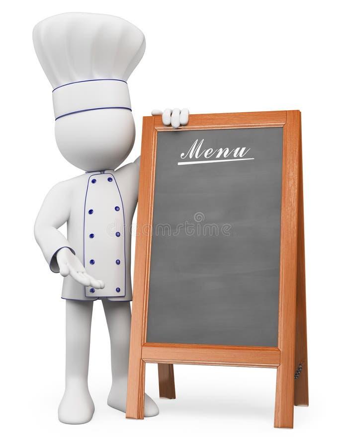 3d人问题白色 有菜单空白的厨师  库存例证