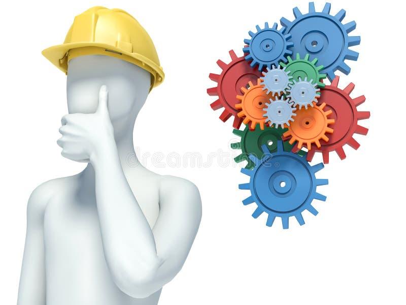 3d人问题白色 有齿轮的机械工程师 垂直 向量例证