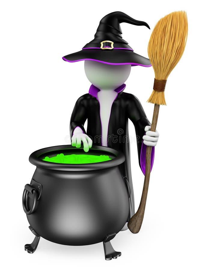 3d人问题白色 烹调一种魔药的巫婆 万圣节 库存例证