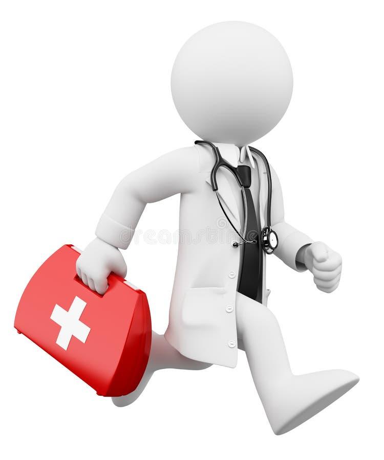 3d人问题白色 跑与急救工具的医生 库存例证