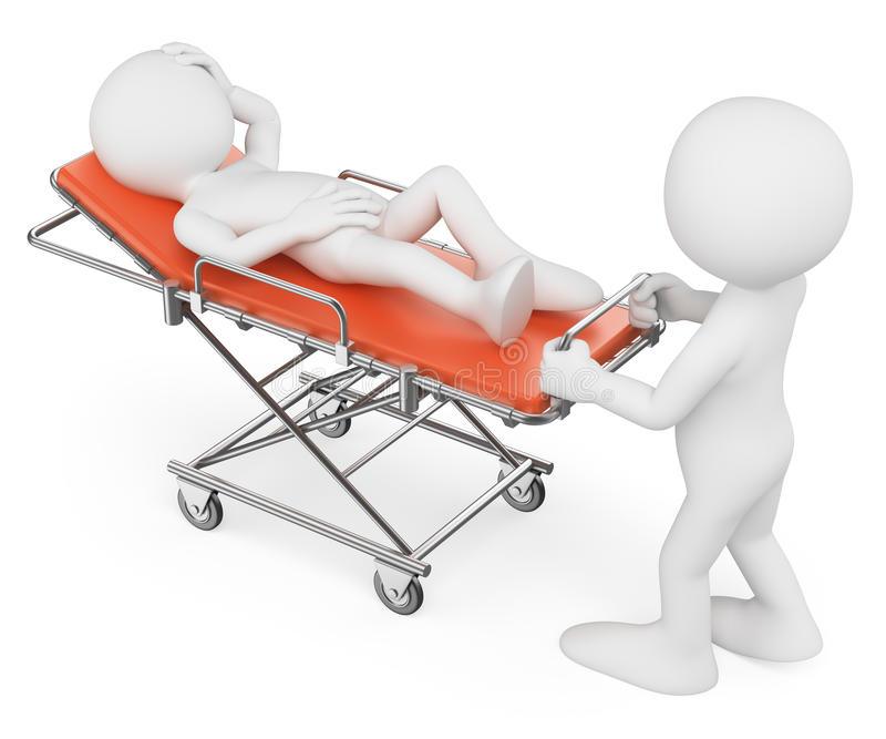 3d人问题白色 运载担架的护士一名患者 皇族释放例证