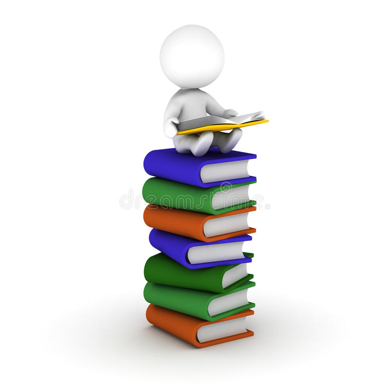 3D人阅读书坐堆书 库存例证
