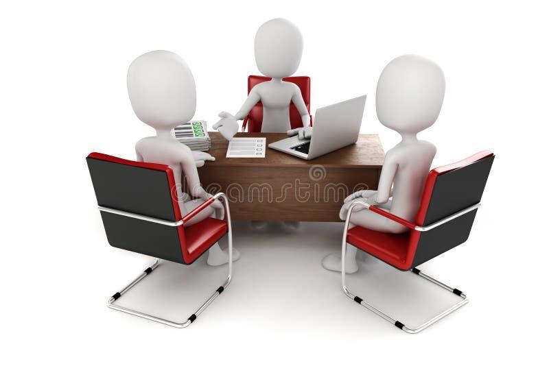 3d人,业务会议,工作面试 向量例证