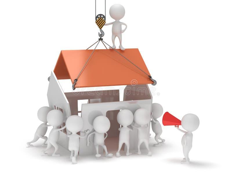 3D人们修建房子 向量例证