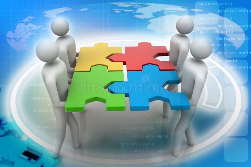 3d人们-合作与难题在手上 向量例证