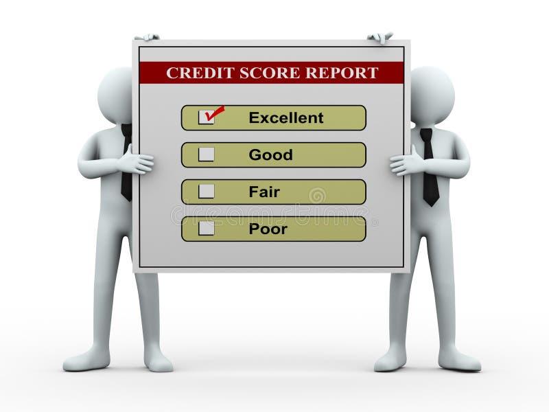 3d人们和信用评分报告 向量例证